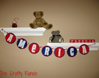 Red, White and Blue Patriotic America Felt Banner