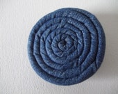 """Coil Blossom Coiled Fabric Flower Hair Accessory Clip 2.75"""" in Blue DENIM"""