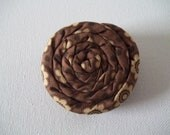 """Coil Blossom Coiled Fabric Flower Hair Accessory Clip 2.5"""" in Brown and Tan Floral Cotton Print"""