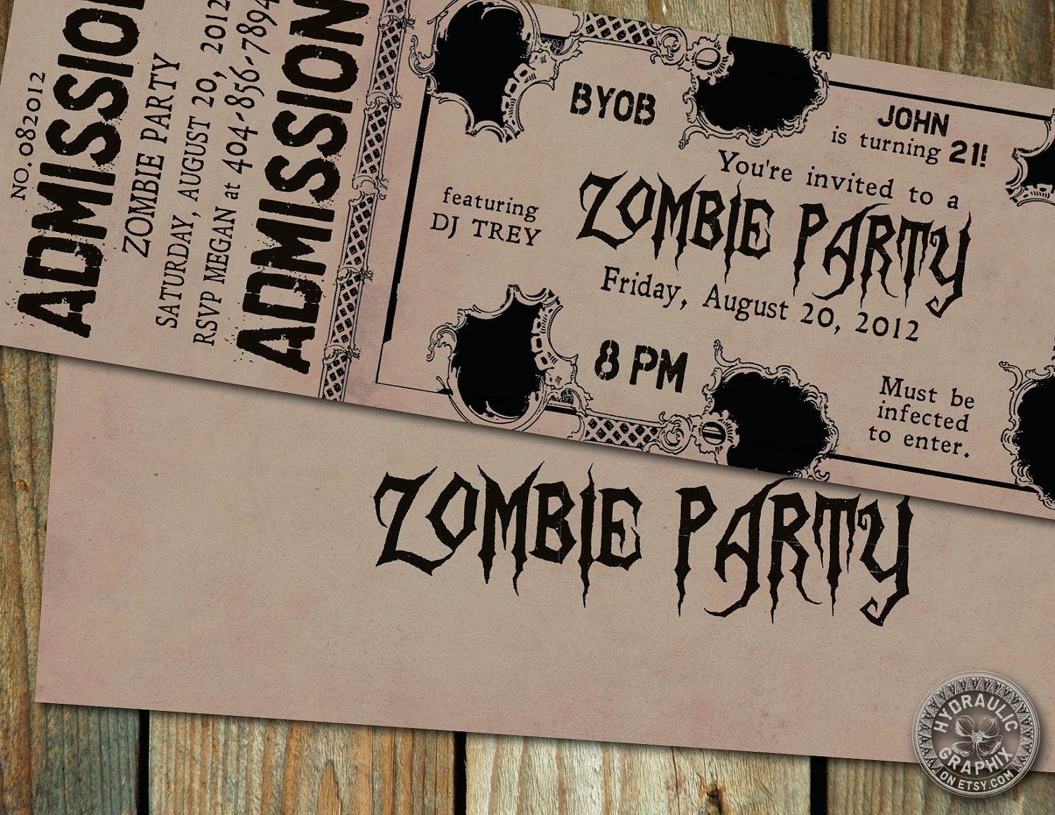 Zombie Birthday Party Ticket Invitation with by