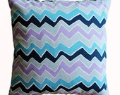 "CLEARANCE SALE!!!! ONE Blues Chevron Zig Zag Pillow Cover - 18"" x 18"" Decorative Pillow Cover"