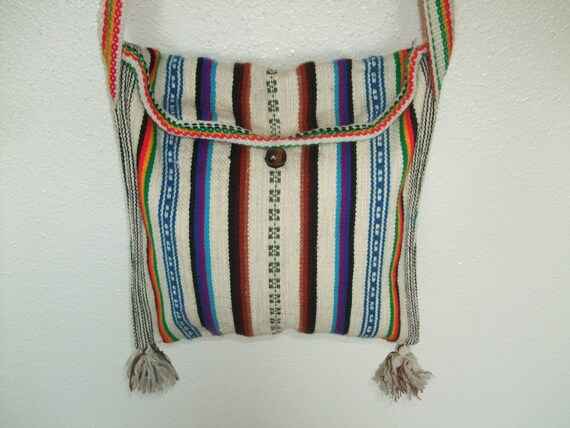Vintage woven ethnic striped crossbody bag