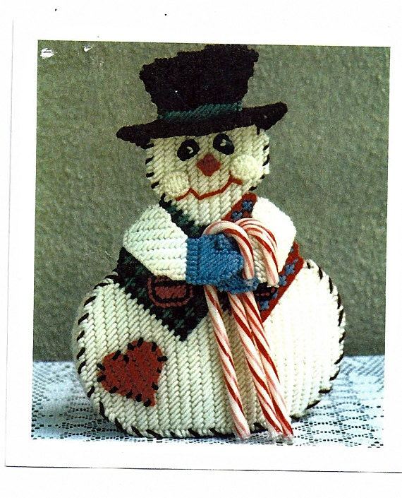 Country Snowman Candy cane Holder Plastic Canvas Pattern