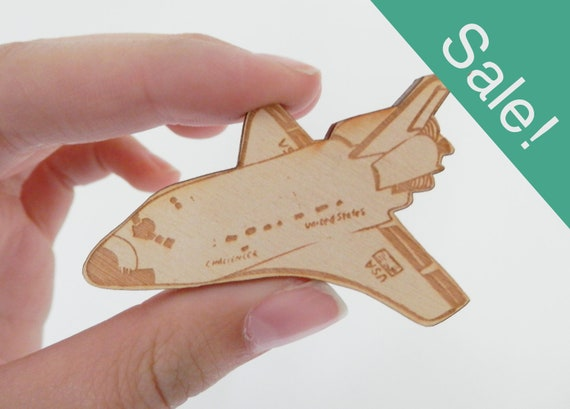 SALE - Space Shuttle Challenger Wooden Brooch