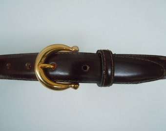 Talbots Brand Vintage Dark Brown Leather Belt With Gold Plated Accents