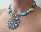 Aqua silver beaded necklace OOAK Aztec statement unique bridesmaid gift handmade
