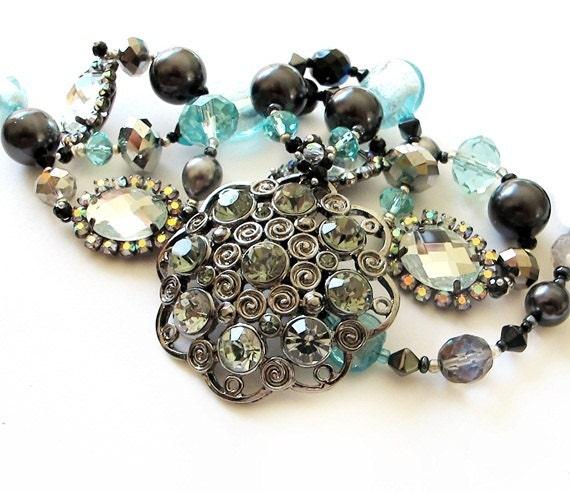 SOLD to Gillian    Black aqua long beaded necklace handmade