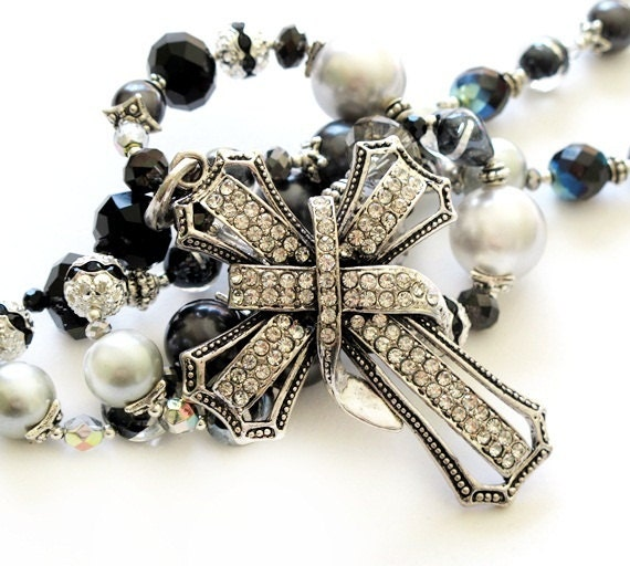 Silver black long beaded necklace silver cross handmade