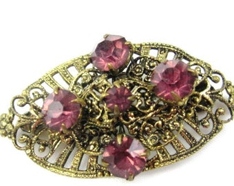 Filigree Brooch, Amethyst Glass, Art Deco, 1930s Vintage Jewelry, Gift for Her SPRING SALE