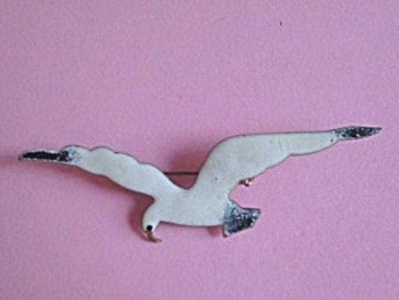 Art Deco Seagull Enamel Bird Brooch 1930s Vintage Jewelry Great Gatsby