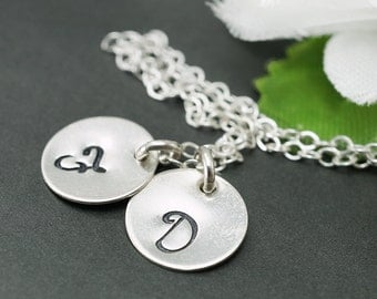 Engraved initials pendant necklace, Sterling silver double initial charms, Hand stamped two disc, Personalized necklace