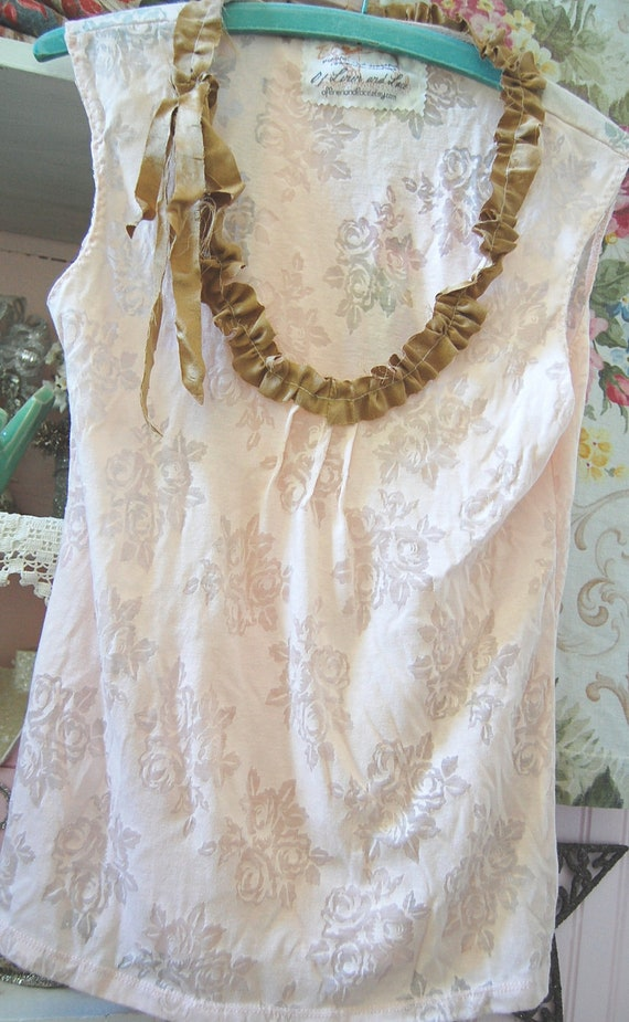 UpcycledClothing Pink Shadow T Shirt Tank XS Burnout Cotton Tattered Silk Edges Shabby Chic Prairie Bride Upcycled Eco Friendly