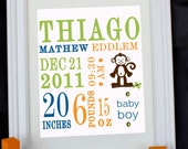 Custom Personalized Nursery Wall Print 8x10 Birth Announcement - Monkey great gift baby