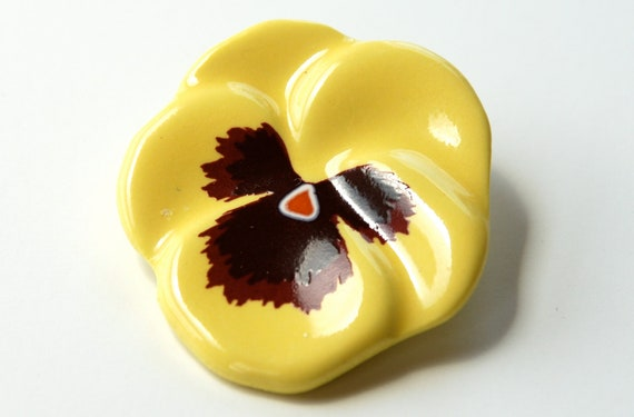 Yellow Pansy Brooch Vintage Avon Porcelain Yellow