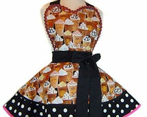 Cool & Frosty Iced Cappuccino Diner Style Apron --A Tie Me Up Aprons Exclusive