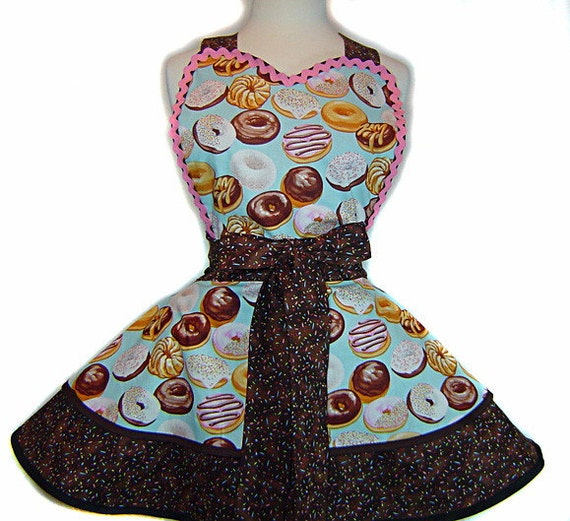 LAST ONE! Tasty Frosted Donuts On Blue Retro Apron--A Tie Me Up Aprons Exclusive