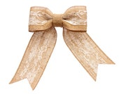 Burlap and Lace Dog Bow Collar Attachment: Vintage, Shabby Chic, Country Western Pet Wedding Accessories for Dogs