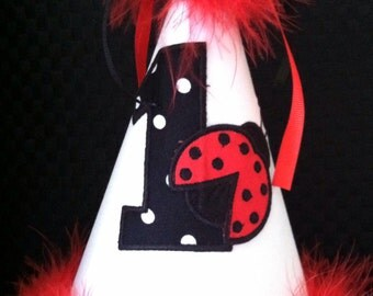 Gorgeous Ladybug Birthday hat FREE PERSONALIZE