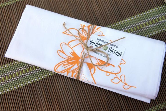 Set of 2 White and Orange Screen-Printed Flower Napkins