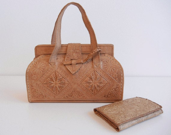 Vintage Tooled Leather Handbag / Moroccan Leather Purse with Matching Wallet