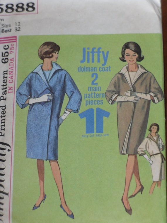 Simplicity 5888 Dolman Coat Pattern Vintage 1965 Jiffy Printed Pattern 12 Small Cut Counted
