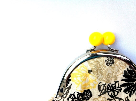 Coin Purse - Gray Yellow Flowers
