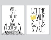 We'll Eat You Up - Where the wild things are - Set of Two 11x14 prints