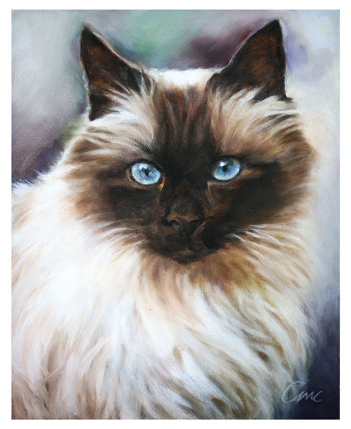Custom pet portrait custom cat painting oil painting 8x10 for Cat paintings on canvas