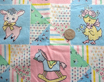 pink and blue children's novelty print vintage cotton fabric -- 36 wide by 2 yards