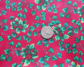 holly and ivy christmas print vintage cotton blend fabric -- 45 wide by 1 yard long