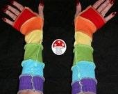 Rainbow Arm Warmers Fingerless Gloves Upcycled Recycled Sweater Art Extra Long Armwarmers Elf Faery Fairy Gay Pride Wrist Cozy Cuff Bracelet