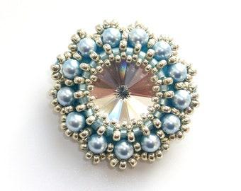 Brooch Beaded, Swarovski Crystal, Blue Swarovski Pearls, Handbeaded Crystal & Pearl Statement Brooch