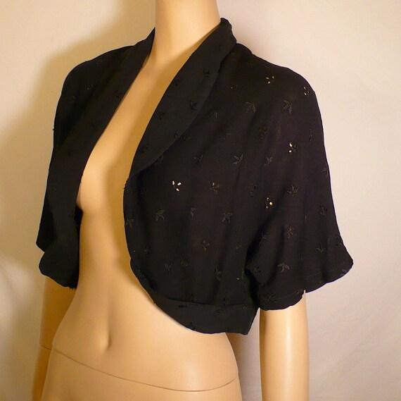M 60s Vintage Bolero Black Lace Eyelet Cotton Shrug Jacket Embroidered Medium