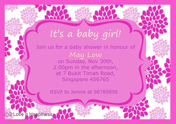 Items similar to Newborn Baby Shower Invitation Card Design Digital