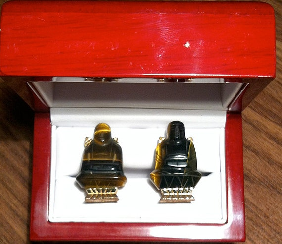 Rare Original Vintage SWANK Tiger Eye Buddha Cufflinks