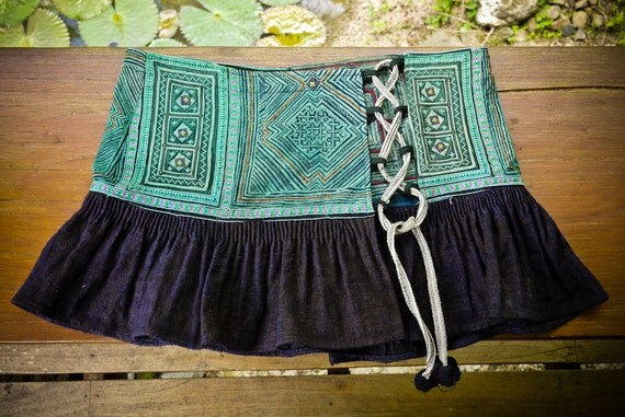 Gemini Lace Up Mini Skirt - Vintage Hmong Textiles and Hemp