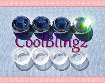 Clear Crystal Rhinestone On Black Screw Caps Covers By