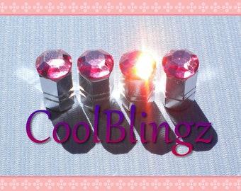 XL ROSE PINK Crystal Bling Rhinestone Tire Valve Stem Caps Covers made w/ Swarovski Elements