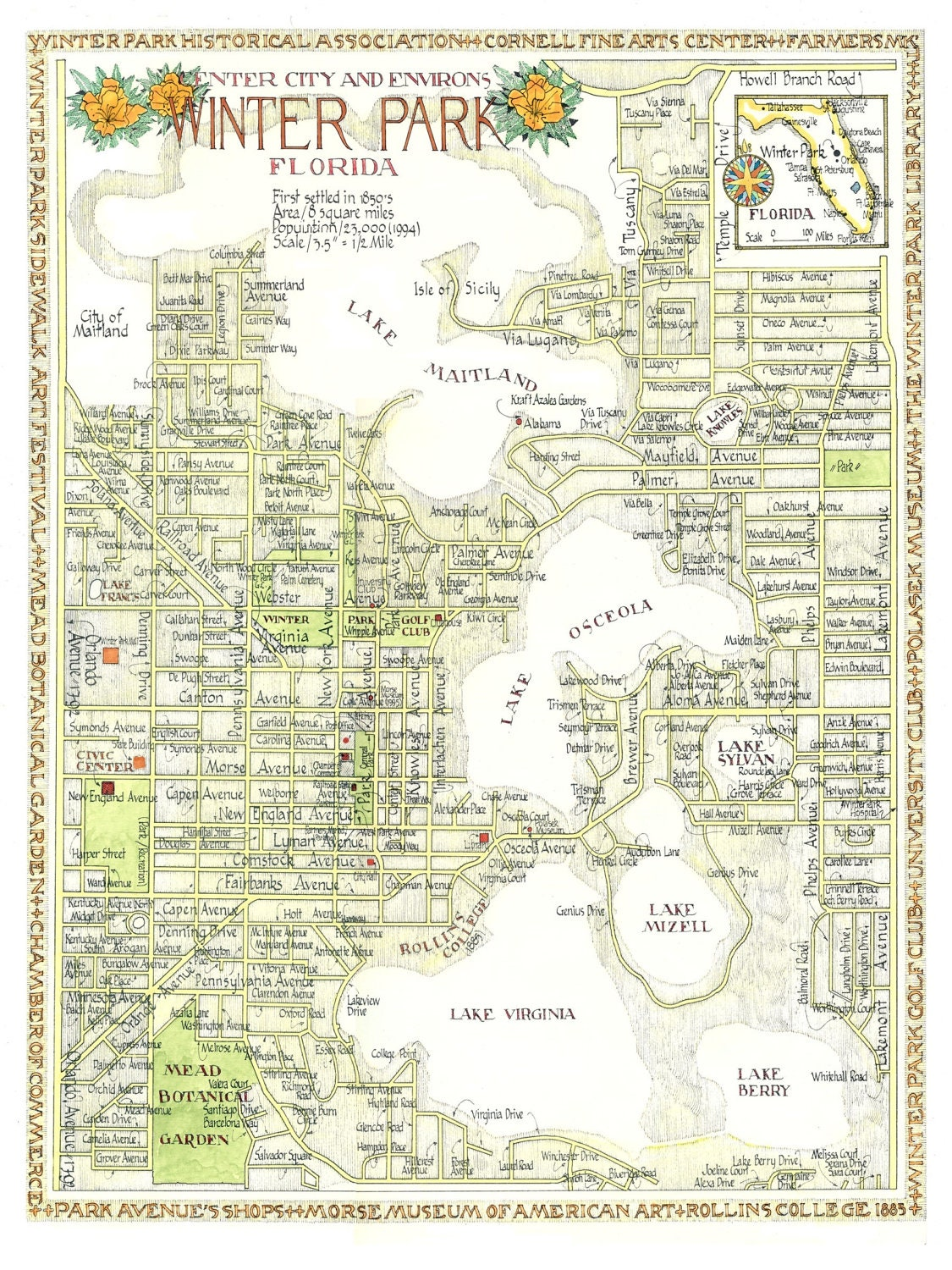 Winter Park Florida Map In Two Sizes Print From Original
