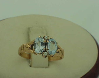 Victorian 10K Gold  Genuine Aquamarines  & Pearl  Ring, late 1800s