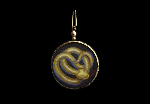 Reserved For Susan- Do Not Buy- Victorian Gold Locket w Miniature Snake Serpent Painting (9K Gold)