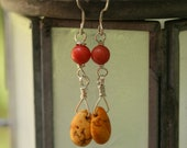 Coral, yellow turquoise and sterling silver dangle earrings--Sunshiny Day--Reserved listing for Sarah