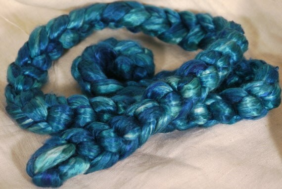 Hand- dyed cultivated silk roving- Aegean( 2 oz.)