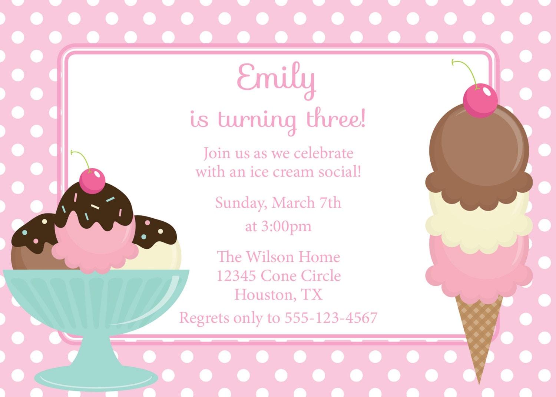 ice cream social invitation birthday invite diy by