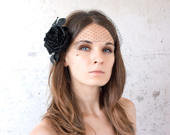 Black rose, Birdcage veil, Black birdcage, Black hair accessories, 20s hair accessories, Black silk rose, Birdcage veil flower Retro wedding