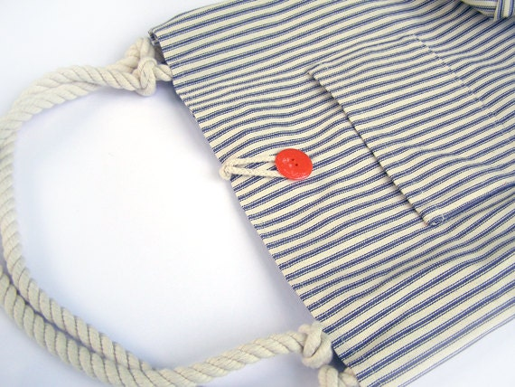 SALE - Blue and White French Ticking Striped Tote Bag with Red Orange Button and Rope Handles- FREE SHIPPING