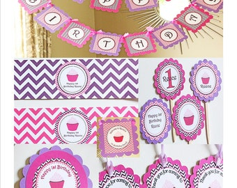 Cupcake theme birthday PARTY PACKAGE - Pinks and Purples