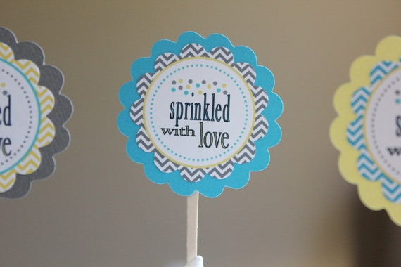 Sprinkled with Love cupcake toppers - Blues