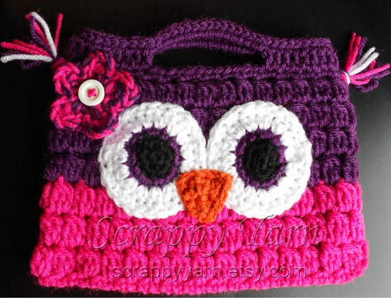 Crochet Owl Bag Pattern Free : Items similar to Crochet Owl Purse on Etsy