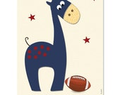 Nursery Wall Art, Giraffe football nursery decor, boys nursery